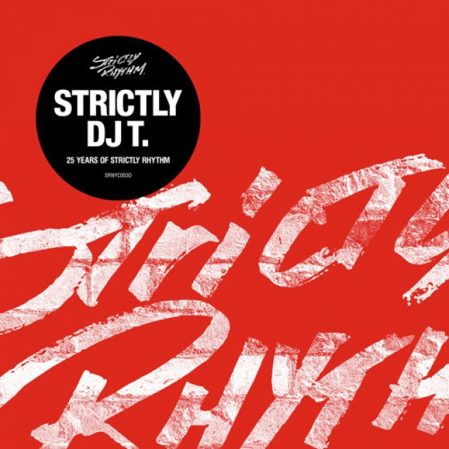 Strictly Dj T, 25 Years of Strictly Rhythm, roter hintergrund, Album Cover, Schwarzer Kreis