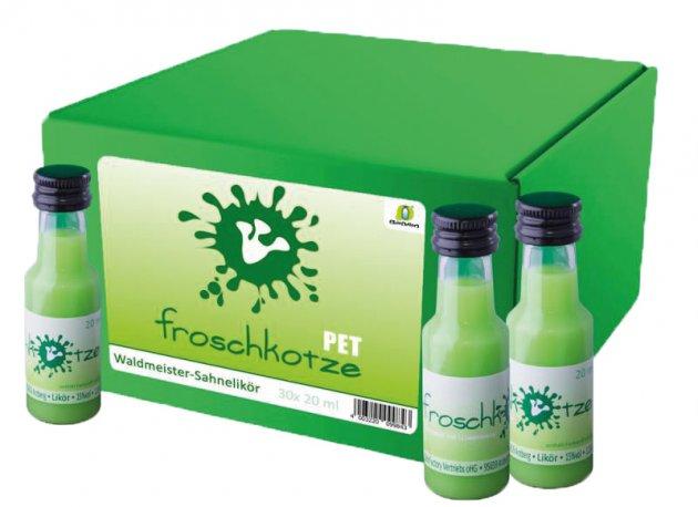 Froschkotze, Getränke, Schnaps, grün, Flasche Weißglas, schwarzer Deckel