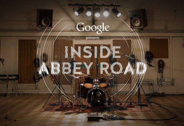 Google presents Inside Abbey Road, Schlagzeug, Drum Kit, Holzboden, Kabel, Tonstudio, Boxen, Keyboard