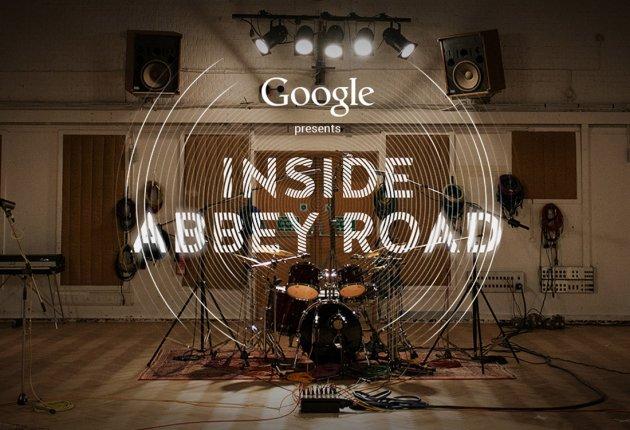 Google presents Inside Abbey Road, Schlagzeug, Drum Kit, Holzboden, Kabel, Tonstudio, Boxen, Keyboard